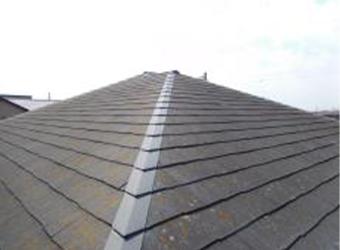 屋根の全体写真です。棟の板金が飛んでしまっています。