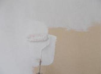 外壁の下塗りの様子です。エスケー化研の水性ソフトサーフSGを使用しています。